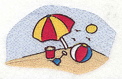 Embroidery Design: Beach scene 3.56w X 2.13h