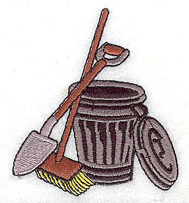 Embroidery Design: Garbage pail shovel and broom 2.44w X 2.81h