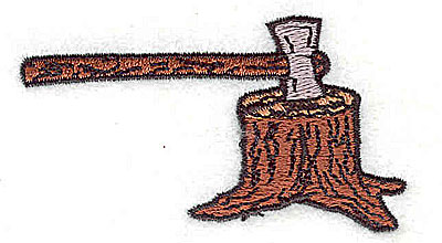 Embroidery Design: Axe in stump 2.75w X 1.56h