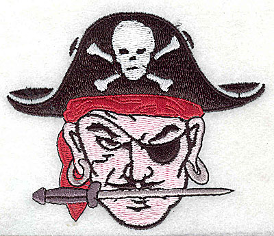 Embroidery Design: Pirate head 3.63w X 3.06h