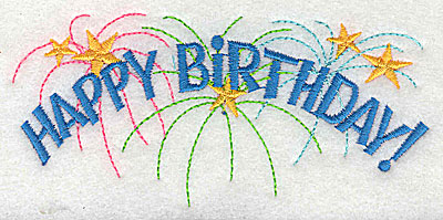 Embroidery Design: Happy Birthday 4.44w X 2.06h