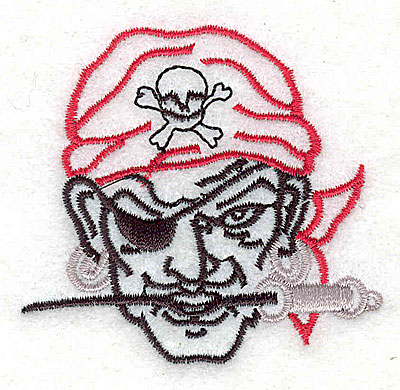 Embroidery Design: Pirate head 2.50w X 2.38h
