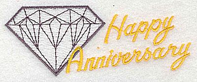 Embroidery Design: Happy Anniversary 4.44w X 1.69h