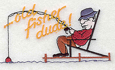 Embroidery Design: Old fisher dude 4.06w X 2.13h