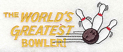 Embroidery Design: The World's Greatest Bowler 4.50w X 1.81h