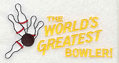 Embroidery Design: The World's Greatest Bowler 4.06w X 2.06h