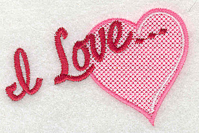 Embroidery Design: I love 3.19w X 2.06h