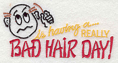 Embroidery Design: Bad Hair Day (old man) 4.38w X 2.19h