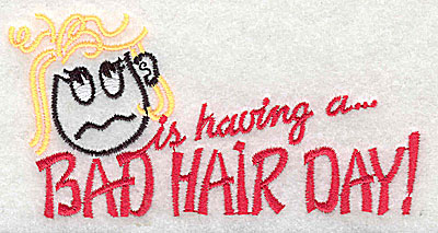 Embroidery Design: Bad Hair Day (female) 4.44w X 2.25h