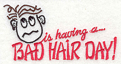 Embroidery Design: Bad Hair Day (male) 4.44w X 2.19h