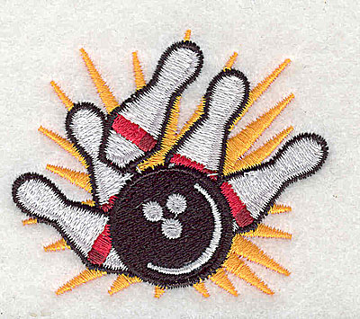 Embroidery Design: Bowling balls and pins 2.50w X 2.13h