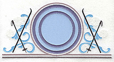 Embroidery Design: Applique circle with skis 7.81w X 3.94h