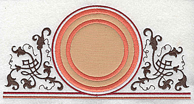 Embroidery Design: Applique circle with decorative swirls 7.81w X 3.94h