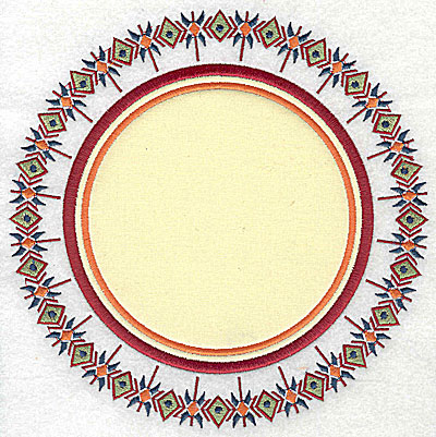 Embroidery Design: Applique with outer pattern 7.44w X 7.44h
