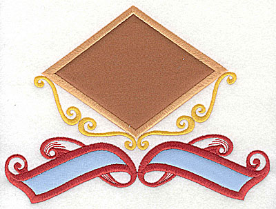 Embroidery Design: Applique triangle with banner appliques 7.81w X 5.81h