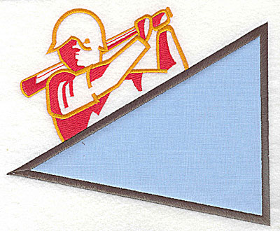 Embroidery Design: Baseball player with applique 7.13w X 6.00h
