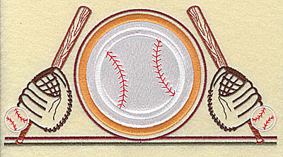 Embroidery Design: Baseball applique with bats 7.81w X 4.00h