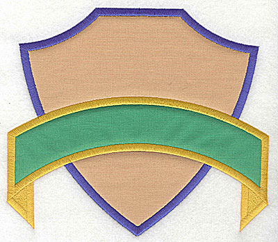 Embroidery Design: Shield with banner double applique 7.38w X 6.44h