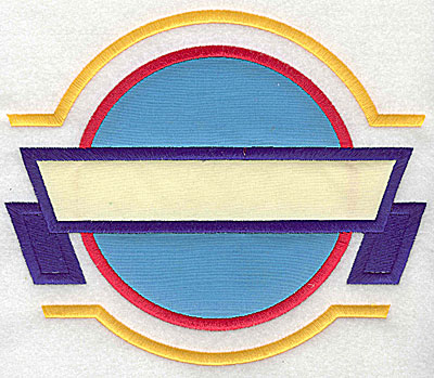 Embroidery Design: Circle applique with banner applique 7.81w X 6.62h