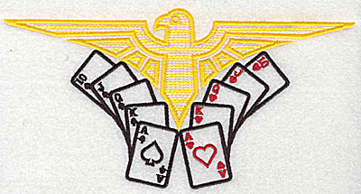 Embroidery Design: Thunderbird with cards 7.88w X 4.06h