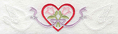 Embroidery Design: Flowers in heart 6.62w X 1.69h