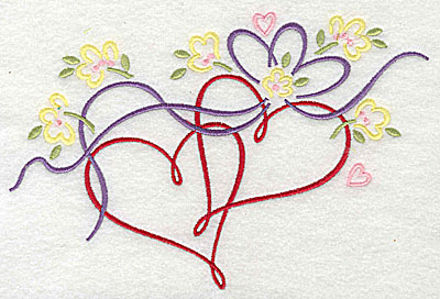 Embroidery Design: Hearts flowers and ribbon 7.25w X 4.88h