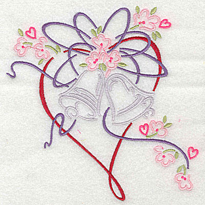 Embroidery Design: Heart flowers and ribbon 5.88w X 5.94h