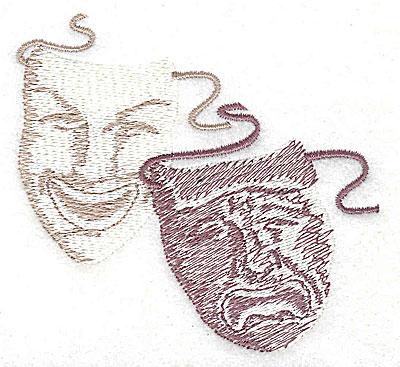 Embroidery Design: Theatre masks 3.25w X 3.06h