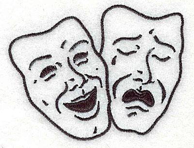 Embroidery Design: Theatre masks 3.38w X 2.56h