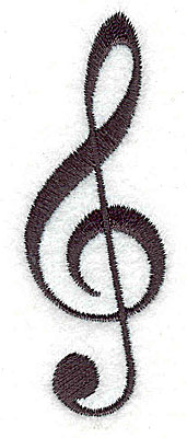 Embroidery Design: Treble Clef 1.00w X 2.94h