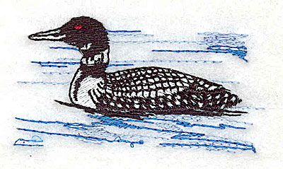 Embroidery Design: Loon 2.56w X 1.31h