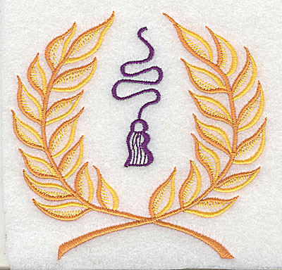 Embroidery Design: Laurel leaves with tassel 4.00w X 3.94h