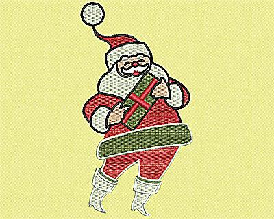 Embroidery Design: Santa with Present 2.31w X 4.38h