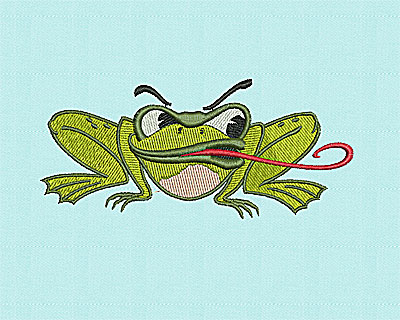 Embroidery Design: Frog with Tongue 5.31w X 2.38h