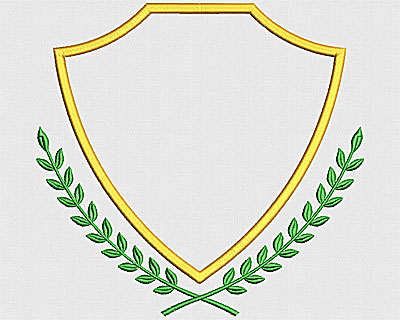 Embroidery Design: Shield with Laurels 7.56w X 7.19h