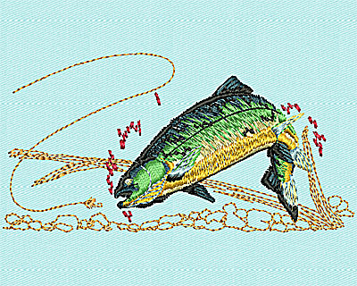 Embroidery Design: Fish in pond 2.13w X 4.18h