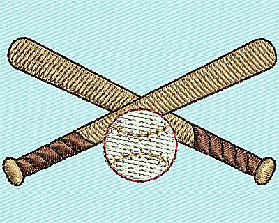 Embroidery Design: Baseball Crossed Bats 1.94w X 1.00h