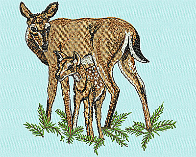 Embroidery Design: Doe and Calf 3.75w X 3.69h