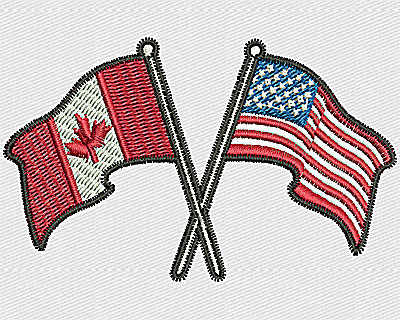Embroidery Design: US Canadian Flags 2.94w X 1.81h
