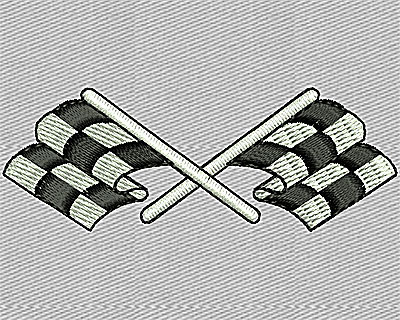 Embroidery Design: Crossed Racing Flags 2.38w X 0.88h