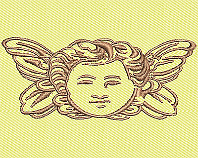 Embroidery Design: Cherub Angel Head 3.25w X 1.38h