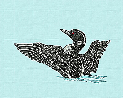 Embroidery Design: Flying Loon 6.44w X 3.63h
