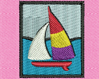 Embroidery Design: Sailboat Scene Picture 1.13w X 1.38h