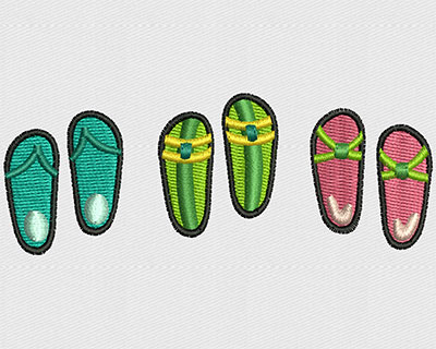 Embroidery Design: Flip Flop Trio 3.44w X 1.31h