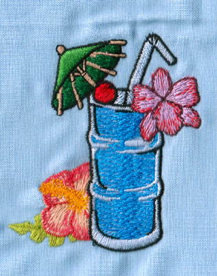 "Embroidery Design: Hawaiian Drink (small)2.59"" x 2.97"""