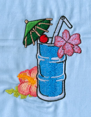 "Embroidery Design: Hawaiian Drink (large)4.01"" x 3.50"""