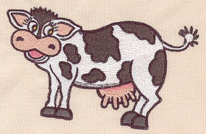 "Embroidery Design: Cow Large5.33""w X 3.08""h"