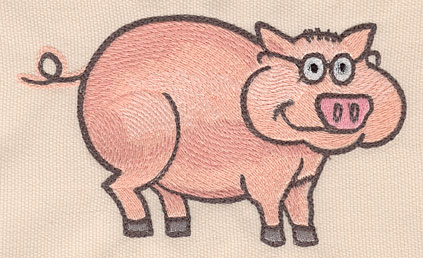 """Embroidery Design: Pig large 5.48""""w X 3.24""""h"""