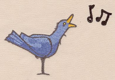 "Embroidery Design: Blue bird large5.07""w X 3.42""h"