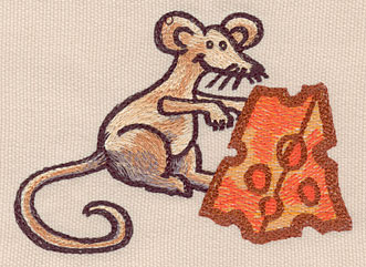 """Embroidery Design: Mouse small with cheese4.26""""w X 3.05""""h"""
